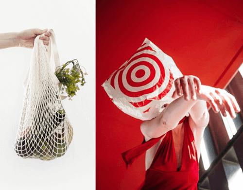kafasına alışveriş poşeti geçiren kadın